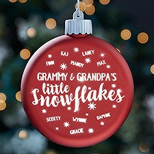Little Snowflakes Personalized LED Light Up Red Glass Ornament - 25145
