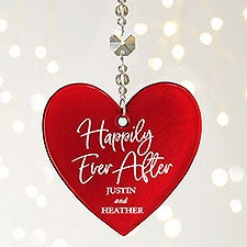 Happily Ever After Personalized Metallic Red Glass Heart Ornament - 25149