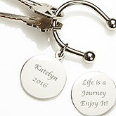 Engraved Silver Key Ring - Silver Plated Life is a Journey - 2515