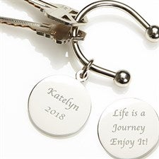 Engraved Silver Keyring - Life is a Journey - 2515