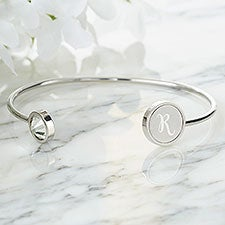 Custom Engraved Initial Gemstone Cuff Bracelet - 25177