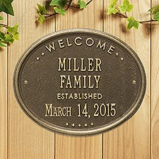 Established Family Welcome Personalized Aluminum Plaque - 25188