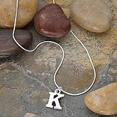 Personalized Silver Initial Pendant Necklace - 2520D