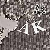 Monogram Silver Charm Initial Keychain - 2528D