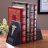 Personalized Medical Marble Bookends - Caduceus Design - 2554