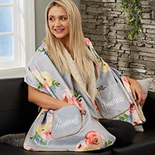 Floral Print Personalized Cuddle Wrap - 25557