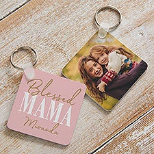Blessed Mom Personalized Photo Keychain - 25678