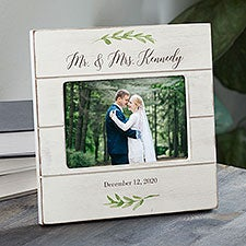 Laurels Of Love Personalized Wedding Shiplap Picture Frame - 25835