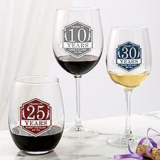 Personalized Anniversary Wine Glasses - 25837