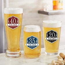 Personalized Anniversary Beer Glasses - 25838