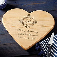 Anniversary Personalized Heart Shaped Cutting Board - 25846