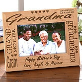 Personalized Picture Frame for Grandma - Engraved Wood Frame - 2586