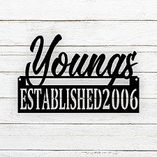 Personalized Last Name Established 18-inch Custom Steel Signs - 25912