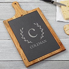 Laurel Initial Personalized Slate & Wood Paddle Cheese Board - 25988