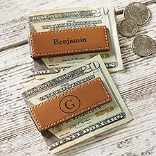 Classic Celebrations Personalized Leather Money Clip - 26004