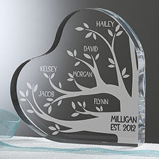 Family Tree Engraved Heart Keepsake - 26027