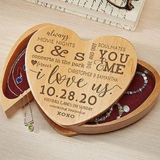 I Love Us Engraved Wood Heart Shaped Jewelry Box - 26074