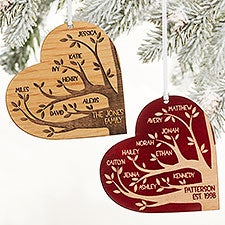 Personalized Wood Heart Family Tree Ornaments - 26131