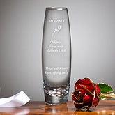 Engraved Glass Bud Vase with 24k Gold Rose - 2626