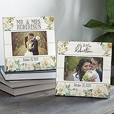 Neutral Colorful Floral Personalized Wedding Picture Frame - 26321