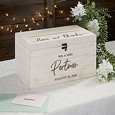 Classic Elegance Personalized Wooden Wedding Card Box - 26389