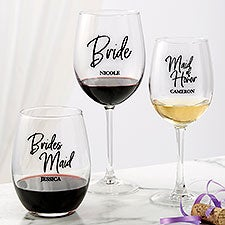 Classic Elegance Personalized Wedding Party Wine Glasses - 26394