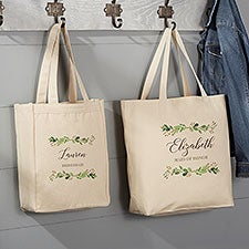 Laurels of Love Personalized Bridal Party Canvas Tote Bags - 26427