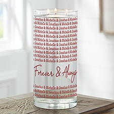 Couples Repeating Names Personalized Glass Flower Vase - 26484