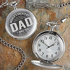 World's Greatest Dad Engraved Silver Pocket Watch - 26493