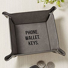Personalized Vegan Leather Valet Tray - 26496