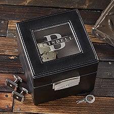Lavish Name Custom Engraved Leather 2 Slot Watch Box - 26501