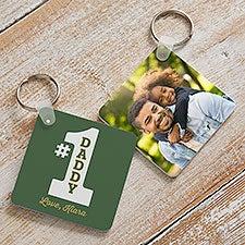 #1 Dad Personalized Photo Keychain - 26513
