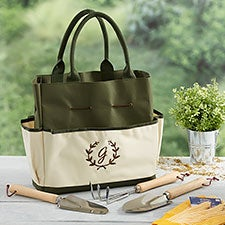 Floral Wreath Personalized Garden Tote & Tools - 26536