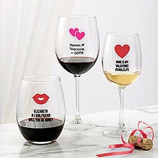 Personalized Valentine's Day Wine Glasses - Choose Your Icon - 26565