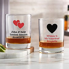 Personalized Valentine's Day Whiskey Glasses - Choose Your Icon - 26567