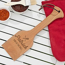 BBQ Time Custom Engraved Wooden Grill Scraper - 26590