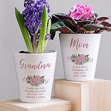 Floral Special Message Personalized Mini Flower Pot - 26698