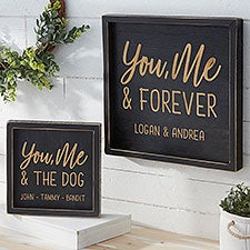 You, Me & Forever Personalized Distressed Black Wood Wall Art - 26767