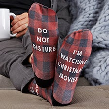Buffalo Plaid Personalized Adult Christmas Socks - 26900
