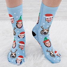 Personalized Christmas Character Photo Socks for Adults - 26904