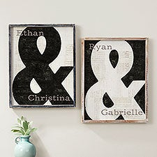 Romantic Ampersand Personalized Barnwood Frame Wood Wall Art - 26958