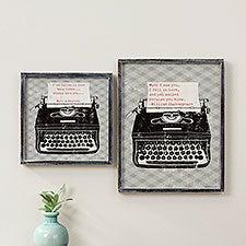 Vintage Typewriter Personalized Barnwood Frame Wall Art - 26959
