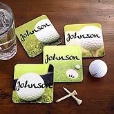 Personalized 19th Hole Golf Coaster Set - 2696