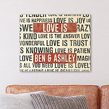 Love Is Personalized Natural Wood Panel Wall Decor - 26962