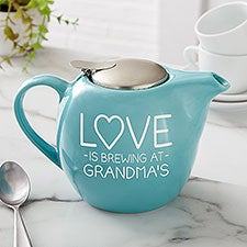 Love Brews Personalized 30 oz Turquoise Teapot - 26976