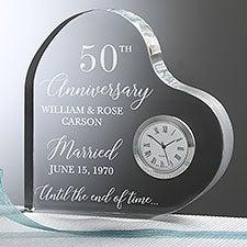 Happy Anniversary Engraved Heart Clock - 27376