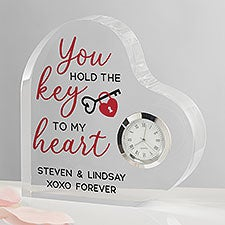 Key To My Heart Personalized Printed Heart Clock - 27380