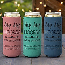 Sip Sip Hooray Personalized Engagement Slim Can Cooler - 27420