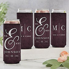 Moody Chic Mr. & Mrs. Personalized Wedding Slim Can Coolers - 27421