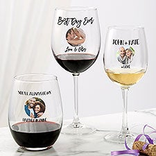 Photo Message For Couple Personalized Wine Glasses - 27803
